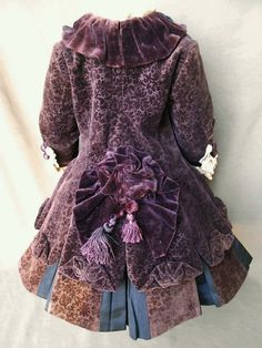 "Antique Outfit Velvet Dress for 21"" 22"" Antique French Bisque BEBE Doll Costume 