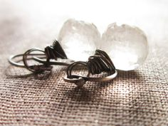 Ash and Ice Earrings Silver Gemstone wire by thelittlehappygoose, $45.00