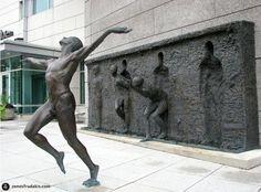 """Freedom,"" a bronze public art sculpture in Philadelphia, Pennsylvania - Sculptor Zenos Frudakis"