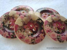 25mm Wood Buttons Black Pink Cream Flower Print by berrynicecrafts