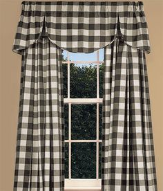 Buffalo+Check+Lined+Pleated+Scalloped+Valance