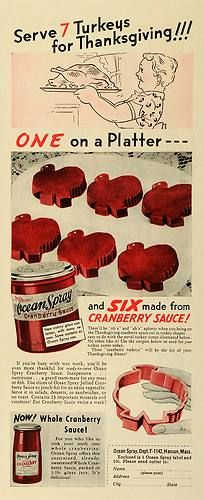 1942 Ad Ocean Spray Jellied Cranberry Sauce Thanksgiving Turkey Holiday Fruit