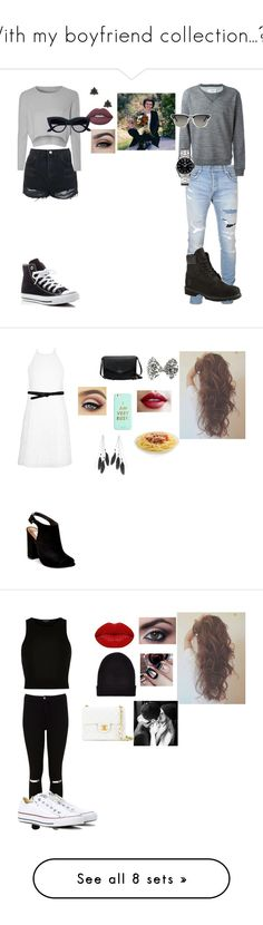 """""""With my boyfriend collection..."""" by coco2259 ❤ liked on Polyvore featuring Balmain, Timberland, Maison Margiela, TAG Heuer, Topshop, Glamorous, Converse, Lime Crime, Ray-Ban and New Look"""