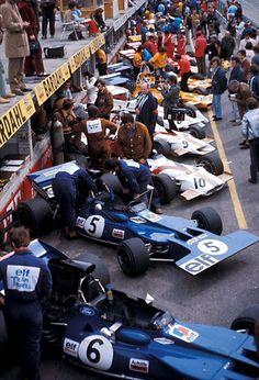 1971 Dutch Grand Prix at Zandvoort Elf Team Tyrrell (#6 François Cevert, #5 Jackie Stewart), Yardley Team BRM (#10 Howden Ganley, #9 Jo Siffert, #8 Pedro Rodriguez), Bruce McLaren Motor Racing (#26 Denny Hulme, #28 Peter Gethin)