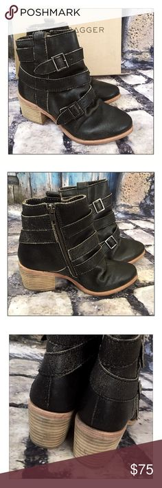 """Kelsi Dagger For Anthropologie Grand Buckle Boots ✨Kelsi Dagger For Anthropologie Grand Buckle Boots✨ Distressed Leather Uppers With buckle strap accents and a 2-1/2"""" stacked,block heel✨ Almond Toe With Side zipper closure✨Cushioned Footbed✨These booties run small✨Although they are a 7.5, they would fit a 6.5-7 best✨NEW In Original Box✨ Kelsi Dagger Shoes Ankle Boots & Booties"""