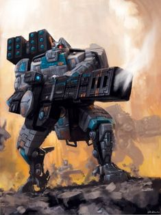 Tau Broadside Battle-Suit, an advanced less mobile more heavily armored version of the standard T'au Crisis Battle-Suit Warhammer 40k Rpg, Warhammer Fantasy, Warhammer Models, Tau Battlesuit, Empire Tau, Tau Army, Tyranids, Science Fiction Art, Space Marine