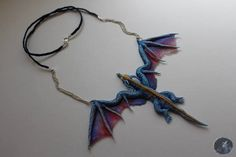 Blue dragon Erydan dragon necklace from polymer clay