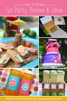 Over 50 Party Themes & Fun DIY Ideas {Free Printables} LivingLocurto.com. Love party themes! You know those duhhh moments tho, right? Cuteness with the little Sammie cookie flip flops, why didn't I think of that!?!?!