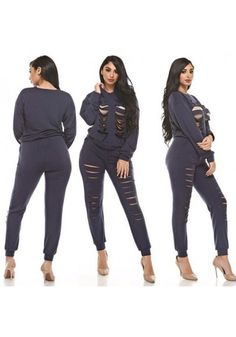 832404ec13 Navy Blue Plain 2-in-1 Drawstring Hollow-out High Waisted Long Jumpsuit