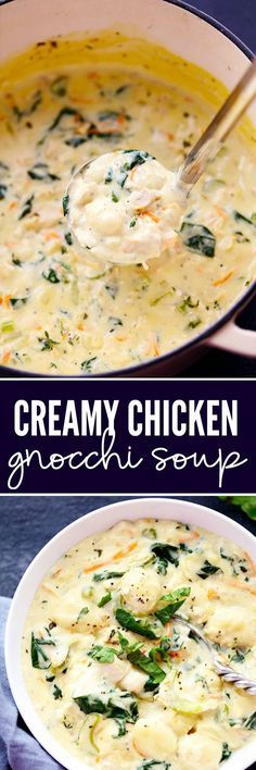 Creamy Chicken Gnocchi Soup has a thick and rich broth with shredded carrots, ce. CLICK Image for full details Creamy Chicken Gnocchi Soup has a thick and rich broth with shredded carrots, celery, chopped spinach and gn. Crockpot Recipes, Soup Recipes, Chicken Recipes, Dinner Recipes, Cooking Recipes, Healthy Recipes, Lunch Recipes, Garlic Recipes, Gastronomia