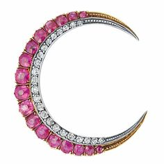 Antique Ruby and Diamond Crescent Brooch  Silver, gold, the crescent embellished by 17 oval and cushion-shaped rubies approximately 2.20 cts., edged by small old-mine cut diamonds, approximately 4.7 dwt.  Victorian or Victorian style.