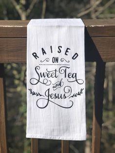 Sweet Tea & Jesus Flour Sack Towel Material: Cotton Color: White with matte black image Size: Approximately 29 Dish Towels, Tea Towels, Hand Towels, Flour Sack Towels, Flour Sacks, Mason Jars, Kitchen Towels, Pig Kitchen, Kitchen Kit
