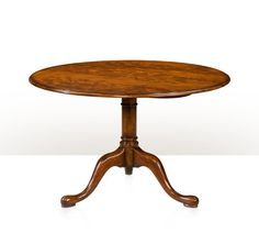 A tilt top tripod breakfast table with brass lock plate in solid mahogany and mahogany veneers, the circular rounded edge top on a gun barrel column with cabriole legs and pad feet. The originals George II, circa 1755. The Library.