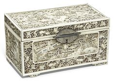 date unspecified A Chinese Canton ivory tea caddy and cover, Qing dynasty, early century, Estimate — GBP LOT SOLD. Tea Canisters, European Paintings, Tea Caddy, Casket, Antique Furniture, Decorative Boxes, Auction, Ivory, Contemporary