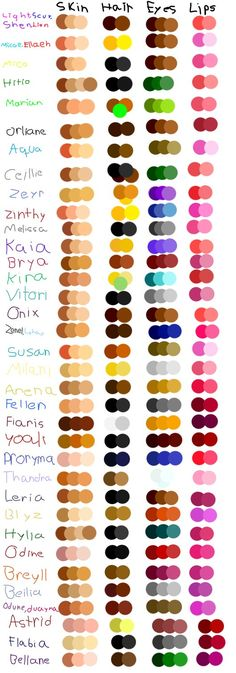 so since I am tired of just using the bases colors I made a color palette for everyone edit: added lips colors and my second gen and my lifeix girls and my witches edit 2: added the generation befo...