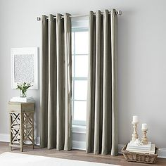 Botanical 84-Inch Grommet Top Window Curtain Panel in Charcoal