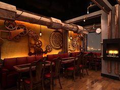 restaurant interieur design steampunk stil deko trendig