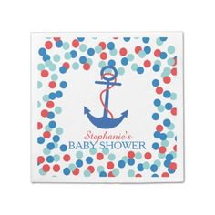 Shop Cute Confetti Nautical Anchor Baby Shower Napkin created by invitationstop. Anchor Baby Showers, Baby Shower Napkins, Ecru Color, Color Blue, Nautical Anchor, And So The Adventure Begins, Cocktail Napkins, Paper Napkins, Trendy Baby