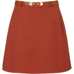 Sixties Belted Skirt ($75) ❤ liked on Polyvore featuring skirts, mini skirts, bottoms, saias, topshop, women, red skirt, short mini skirts, short skirts and red mini skirt