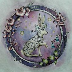 The festive rabbit is ready to celebrate. Watercolour, polychromos pencils and a bit of white gel pen. #johannabasford #JohannasChristmas #adultcoloring #adultcolouring #adultcoloringbook #adultcolouringbook #colouringforadults #coloringbook #colouringbook #coloring #colouring #aikuistenvärityskirja #väritys #coloringforadults #värityskirja #polychromos #fabercastellpolychromos #mycreativeescape