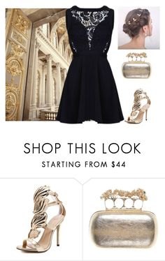 """""""Gold & Black Look"""" by amanda-368 ❤ liked on Polyvore featuring Alexander McQueen, gold, dress, lace, back and dressedup"""