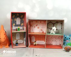 DIY Dolls House Tutorial with Free Templates!  Great project for the girl kiddos (and, Boys too!  G.I. Joes need Barracks!  Ninja Turtles need secret headquarters, Batcave!  I used to make these when I was a kid....my brother loved the G.I. Joe House + Batcave I made him in 1963!  Fun, fun, fun!