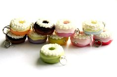 Miniature Donuts Polymer Clay Foods Supplies for Beaded Jewelry Charm 10 pcs. $9.50, via Etsy.