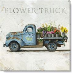 This Flower Truck giclee art print is just right for the farmhouse home. With both rustic flair and feminine flowers, this canvas print is the perfect addition for the chippy, vintage, or shiplap-lover in each of us! Old Pickup Trucks, Farm Trucks, Chevy Trucks, Jeep Pickup, Pickup Camper, Dually Trucks, Diesel Trucks, Lifted Trucks, Country Trucks
