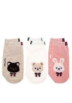 Ribbon Ankle Socks Set Of 3_1 Cute Socks, Kids Socks, Cotton Socks, Ankle Socks, Kiss, Ribbon, Baby, Socks, Tape