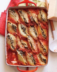 Ricotta and Spinach Stuffed Shells Recipe from Martha Stewart's Whole Living Note:  Try making this into lasagna roll-ups.