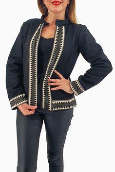 Sacou brodat 2 Peplum, Kimono, Blazer, Sweaters, Products, Fashion, Embroidery, Tricot, Moda