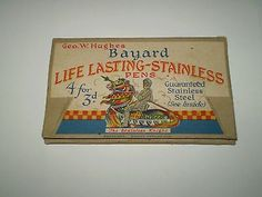 Vintage-Geo-W-Hughes-Bayard-Life-Lasting-Stainless-Pen-Nibs-Original-Package
