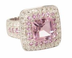 Pink Quartz, Pink Sapphire & Diamond Ring / 14k white gold