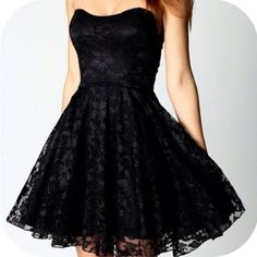 Black strapless lace dress