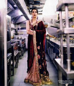#Sabyasachi Couture #FIRDAUS #Sari for @bazaarbridein #HarpersBazaarBride February 2017. #HandCraftedInIndia #TheWorldOfSabyasachi #BazaarBrideIn #BazaarBrideTurns3 @anahitadhondy