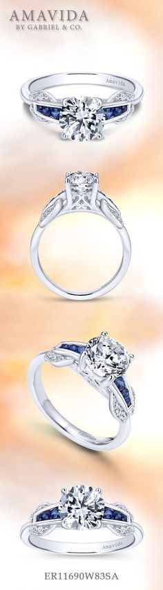 Gabriel NY - Preferred Fine Jewelry and Bridal Brand. Beautiful round sapphire engagement ring.   Find your nearest retailer->