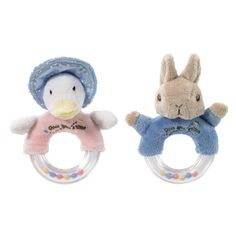 Peter Rabbit or Jemima Puddleduck Beatrix Potter Soft Toy Rattle Rings