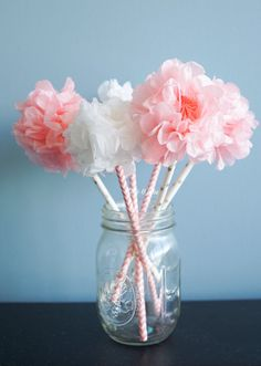 Tissue paper pom pom flower kit paper straw wands by Kateandjake