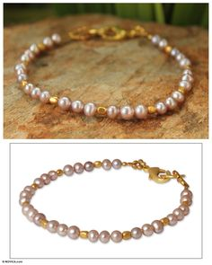 Fair Trade Gold Plated Pearl Bracelet - Iridescent Dawn | NOVICA