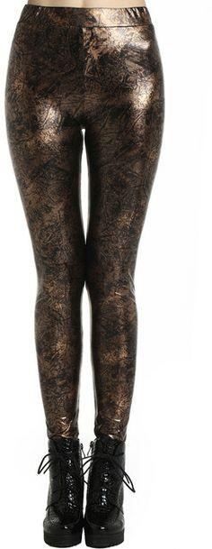 Romwe Crack Print Fake Leather Gold-tone Leggings on shopstyle.com