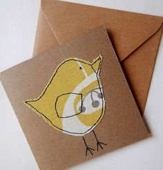 Handmade hand stitched bird card textile card fabric card card for girlsgra Freehand Machine Embroidery, Free Motion Embroidery, Free Machine Embroidery, Embroidery Ideas, Sewing Machine Quilting, Etsy Embroidery, Sewing Machine Tables, Fabric Cards, Fabric Postcards