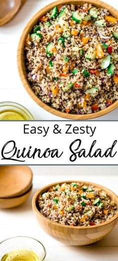 Easy Quinoa Salad takes about 20 minutes total to make and is large enough for several meals. The dressing is a little tangy with just the right amount of sweetness for a great side year round.This Easy Quinoa Salad takes about 20 minutes total to. Quinoa Salad Recipes Cold, Zesty Quinoa Salad, Potluck Recipes, Healthy Salad Recipes, Gourmet Recipes, Vegetarian Recipes, Cooking Recipes, Dressing For Quinoa Salad, Couscous