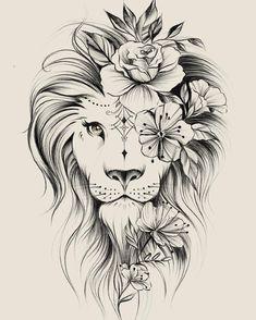 Image could contain: drawing – flower tattoos – best tattoo – flower tattoos designs - tatoo feminina Leo Tattoos, Bild Tattoos, Cute Tattoos, Beautiful Tattoos, Body Art Tattoos, Tattoos For Guys, Tatoos, Awesome Tattoos, Leo Zodiac Tattoos