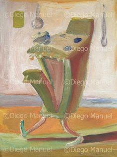 """""""cocina caminando"""", acrylic on canvas, 27 x 20 cm. , 2001. By Diego Manuel"""
