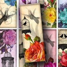 Vintage Birds Flowers Floral Bookmarks Set of Two Digital Images Sheets Birdcages Hummingbirds 1.8 x 5 Inch Bookmarks Tags Scrapbook (BK2). $3.00, via Etsy.