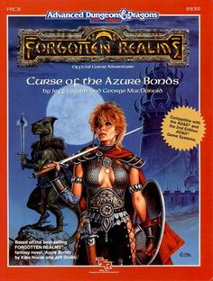 FRC2 Curse of the Azure Bonds (1e/2e) | Book cover and interior art for Advanced Dungeons and Dragons 2.0 - Advanced Dungeons & Dragons, D&D, DND, AD&D, ADND, 2nd Edition, 2nd Ed., 2.0, 2E, OSRIC, OSR, d20, fantasy, Roleplaying Game, Role Playing Game, RPG, Wizards of the Coast, WotC, TSR Inc. | Create your own roleplaying game books w/ RPG Bard: www.rpgbard.com | Not Trusty Sword art: click artwork for source