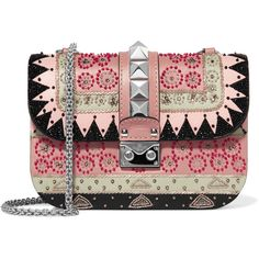 Valentino Lock medium embellished leather shoulder bag ($3,730) ❤ liked on Polyvore featuring bags, handbags, shoulder bags, bolsas, black, multi colored handbags, genuine leather purse, beaded purse, colorful purses and shoulder handbags