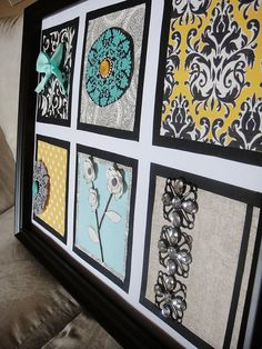 make your own art with scrapbook pages and trinkets to match any decor