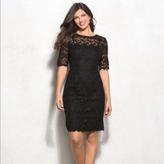 DressBarn Special Occasion Black Lace Dress Super elegant little black dress! The lace is beautiful and it gives you a great figure while hiding your stomach very well. Dress Barn Dresses Wedding