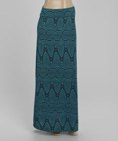 Look what I found on #zulily! Green Geometric Fold-Over Maxi Skirt #zulilyfinds